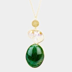 NATURAL PEARL OVAL STONE PENDANT LONG NECKLACE